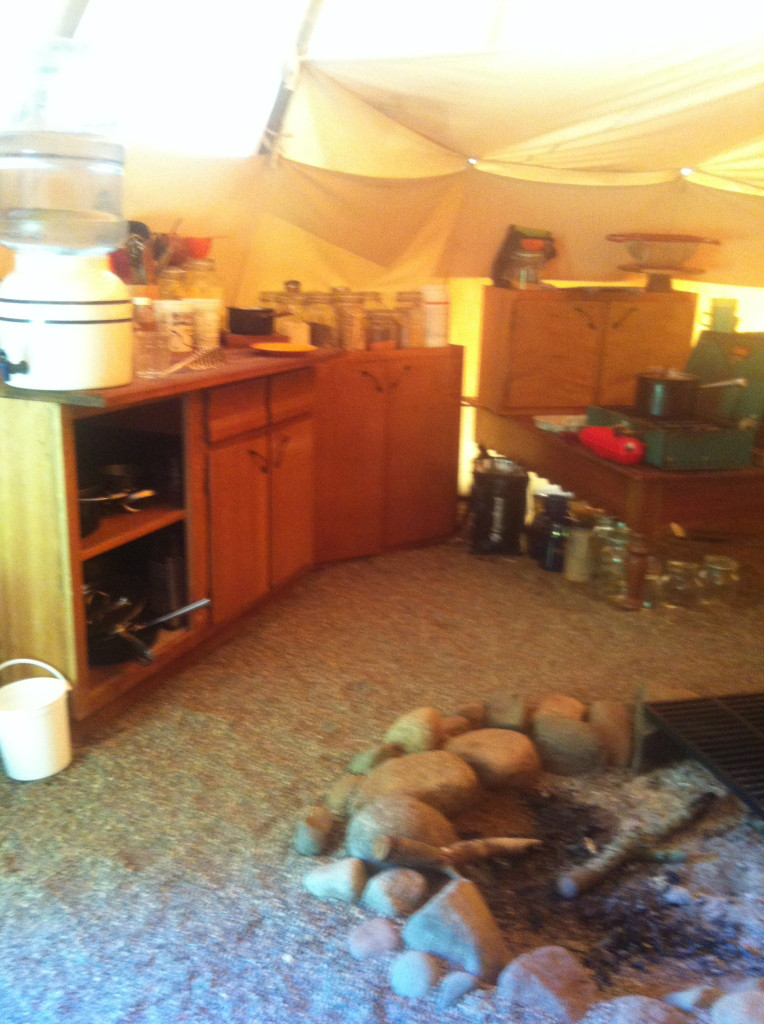 The kitchen inside the tipi